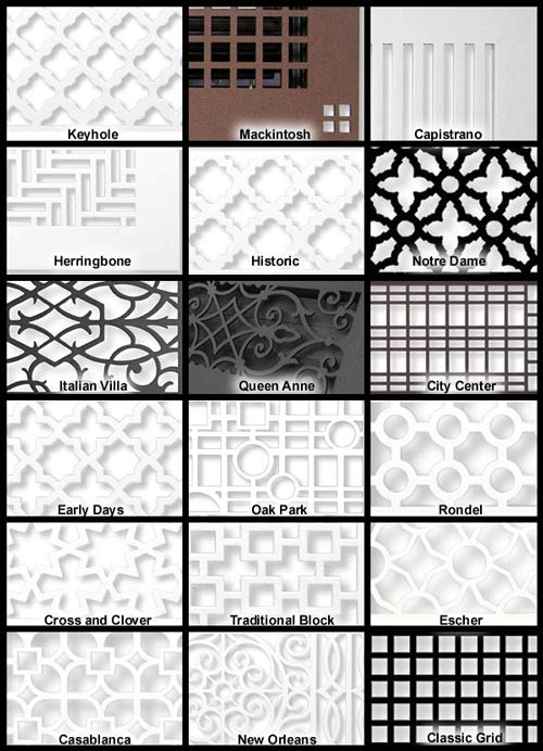 filter grille faceplate patterns